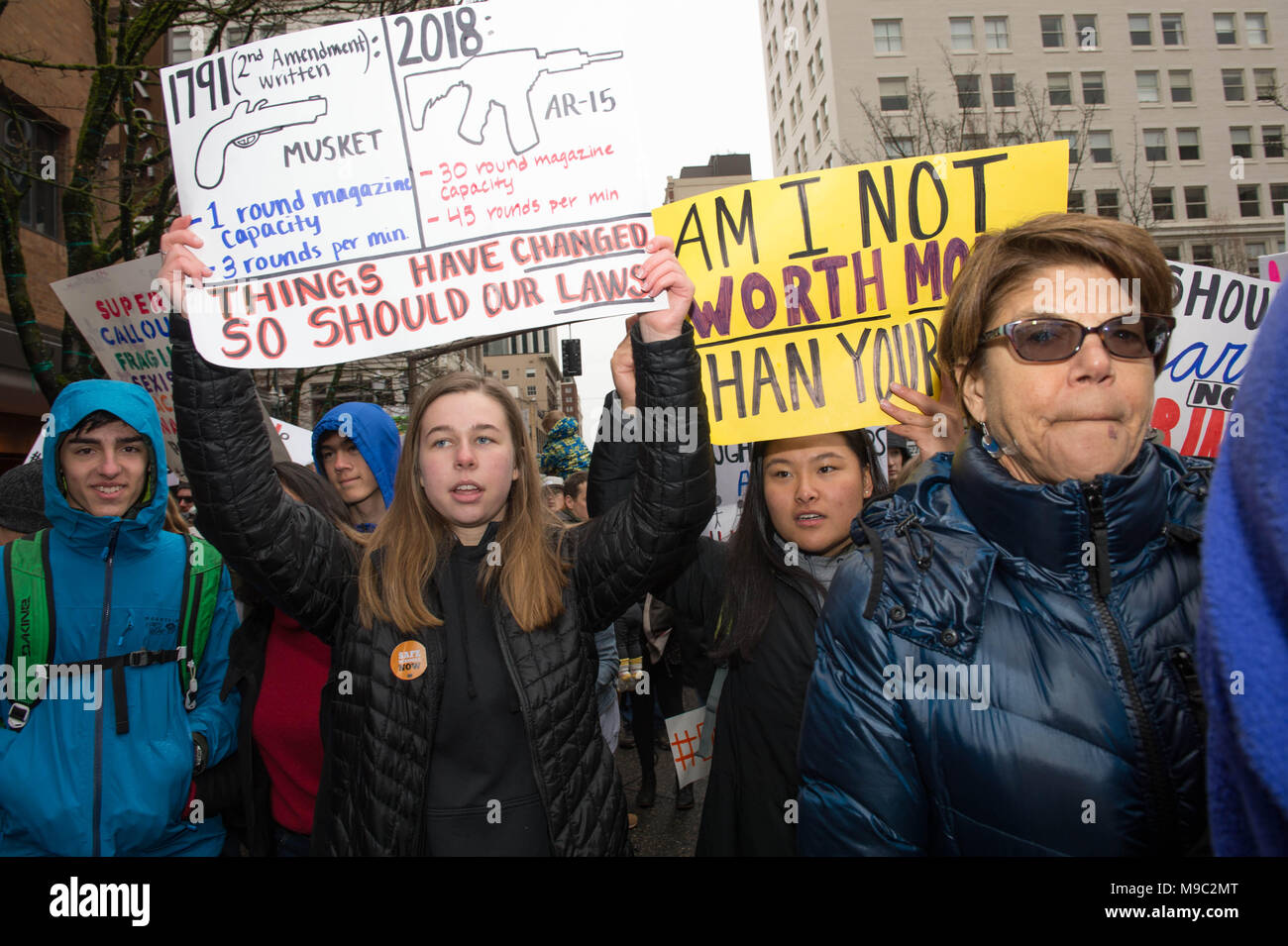Portland, Oregon, USA, 24.03.18: Portlanders turn out in force for the March for Our Lives protest Credit: Nick Gammon/Alamy Live News Stock Photo