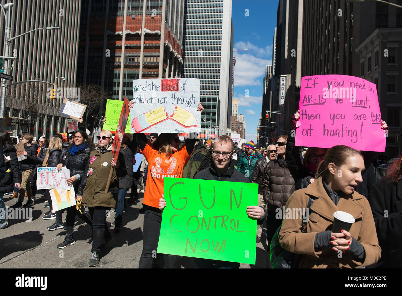 New York City, USA. 24th March, 2018. March for Our Lives in New York City, New York. March 24th, 2018. Credit: Beth Dixson/Alamy Live News - Stock Image