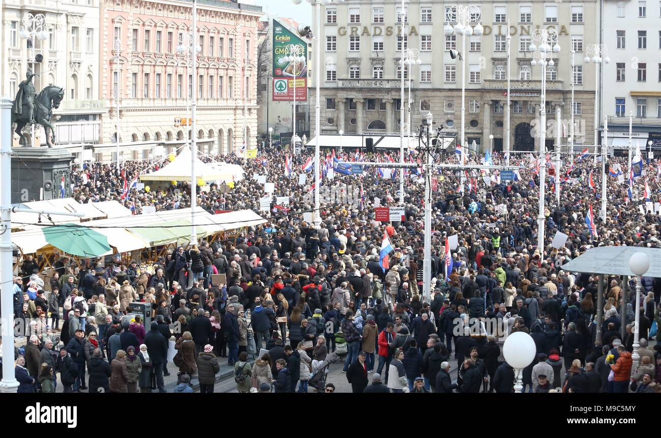 Zagreb, Croatia. 24th Mar, 2018. People protest against the ratification of the Istanbul Convention in Zagreb, Croatia, on March 24, 2018. Thousands of people gathered in Zagreb to protest the ratification of the Council of Europe convention on preventing and combating violence against woman and domestic violence (Istanbul Convention) on Saturday. The Croatian government on Thursday adopted the Council of Europe convention against gender-based violence and sent it to the parliament for ratification, state agency HINA reported. Credit: Matija Habljak/Xinhua/Alamy Live News - Stock Image