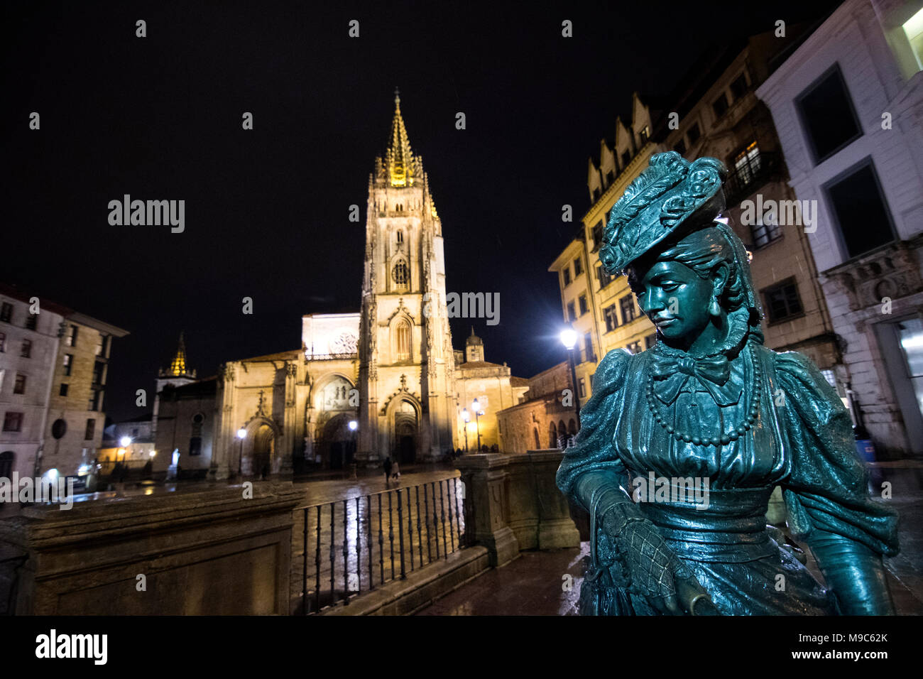 Oviedo, Spain. 24th March, 2018. UNESCO World Heritage Site, Oviedo Cathedral of San Salvador, before the lights were turned off during the Earth Hour 2018 environmental campaing on March 24, 2018 in Oviedo, Spain. This is an annual light-off enronmental event organised by the WWF (World Wide Fund for NAture) o raise awareness of climate change. ©David Gato/Alamy Live News - Stock Image
