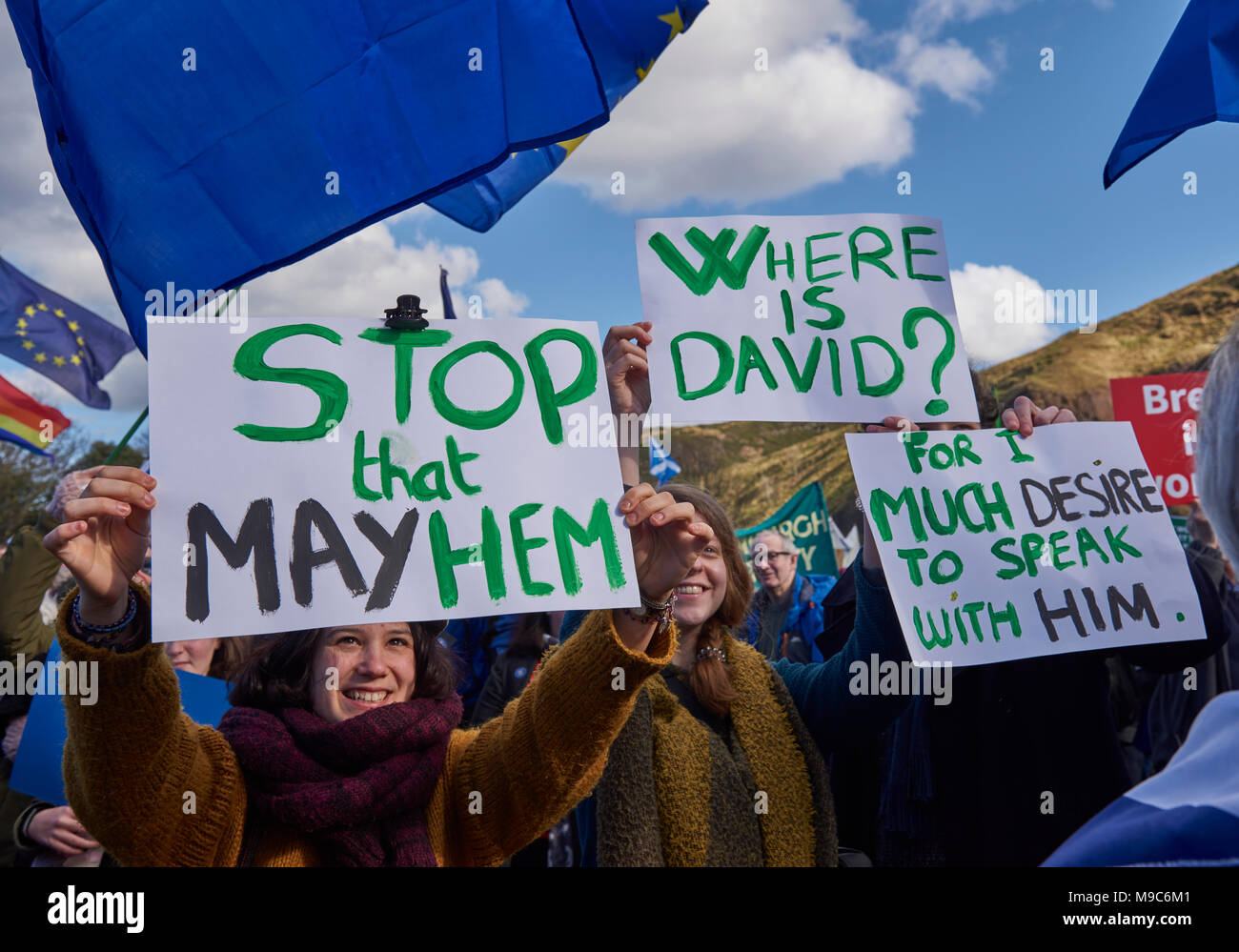 Edinburgh, Scotland, 24th March 2018, Demonstrators holding up Placards at the March for Europe Demonstration in Edinburgh, UK. Credit JJ Walters/Alamy Live News - Stock Image