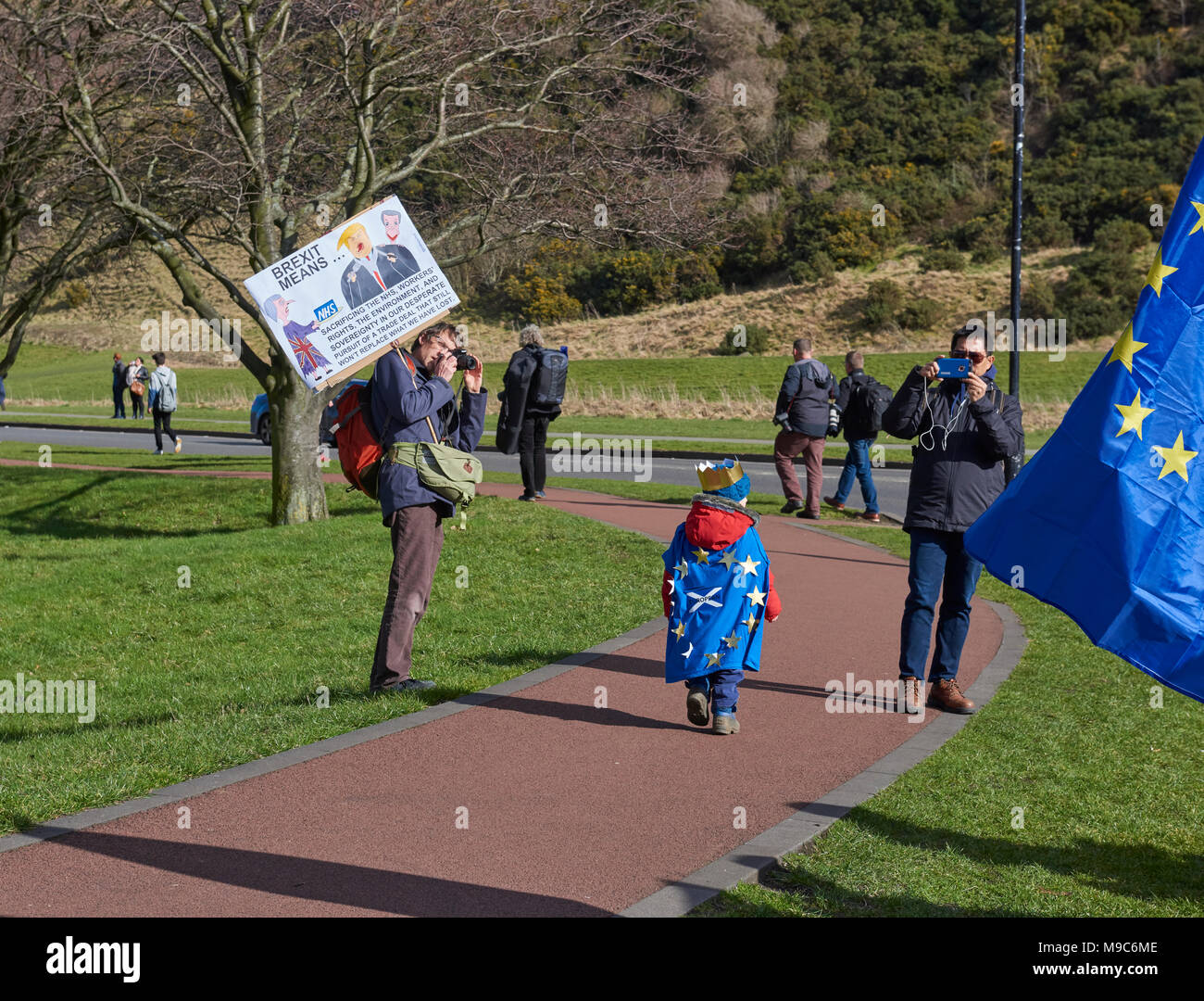 Edinburgh, Scotland, 24th March 2018, Child Dressed up with European Flag Cape at the March for Europe Demonstration in Edinburgh, UK. Credit JJ Walters/Alamy Live News - Stock Image