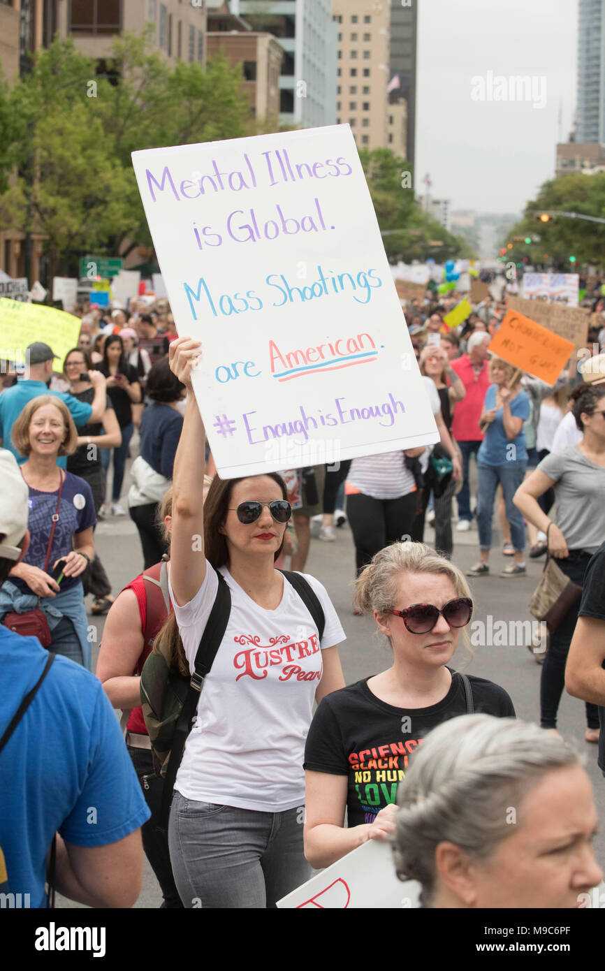 Nearly 10,000 marchers converge in downtown Austin at the State Capitol during the March For Our Lives, protesting gun violence in the wake of school mass shootings. - Stock Image
