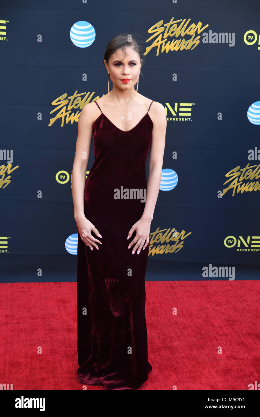 Las Vegas, NV, USA, 24 Mar 2018. Green Leaf Actress Defiree Ross walks the red carpet at the 33rd Annual Stellar Awards in Las Vegas, Nevada - Stock Image
