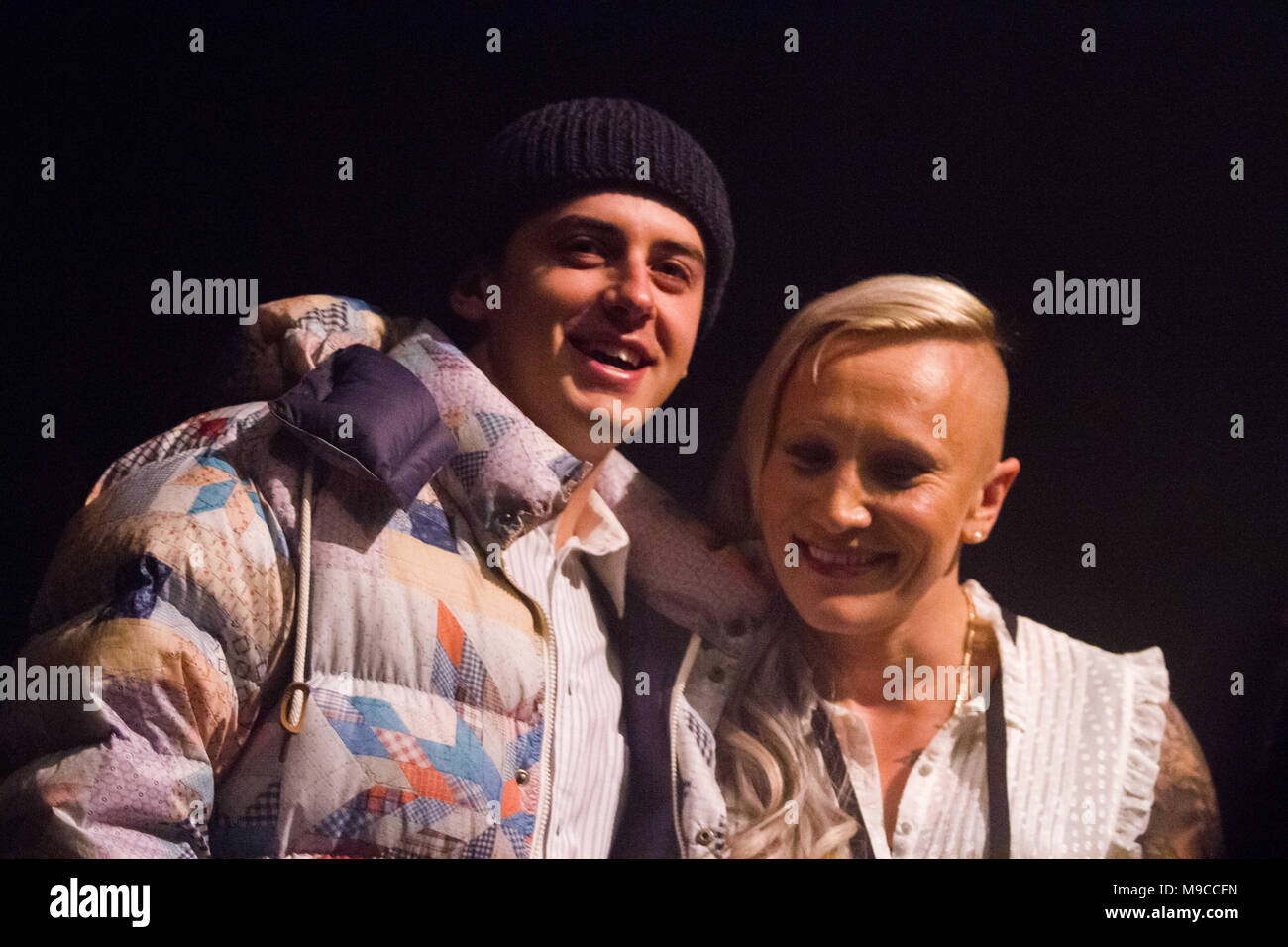 Vancouver, British Columbia, Canada. 22nd Mar, 2018. Canadian Olympians and Medallists in PyeongChang, Skier Mark McMorris and BobSled Kaillie Humphries at the Juno Cup Jam Show, Thursday to kick off Juno Awards week in Support of MusiCounts. Credit: Ron Palmer/SOPA Images/ZUMA Wire/Alamy Live News - Stock Image