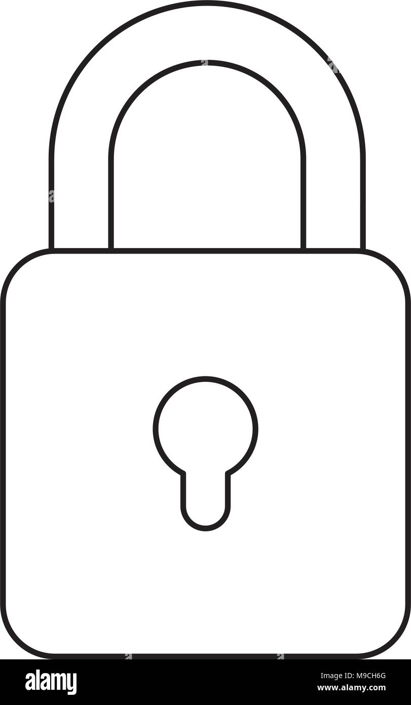 security padlock icon over white background, vector illustration - Stock Image
