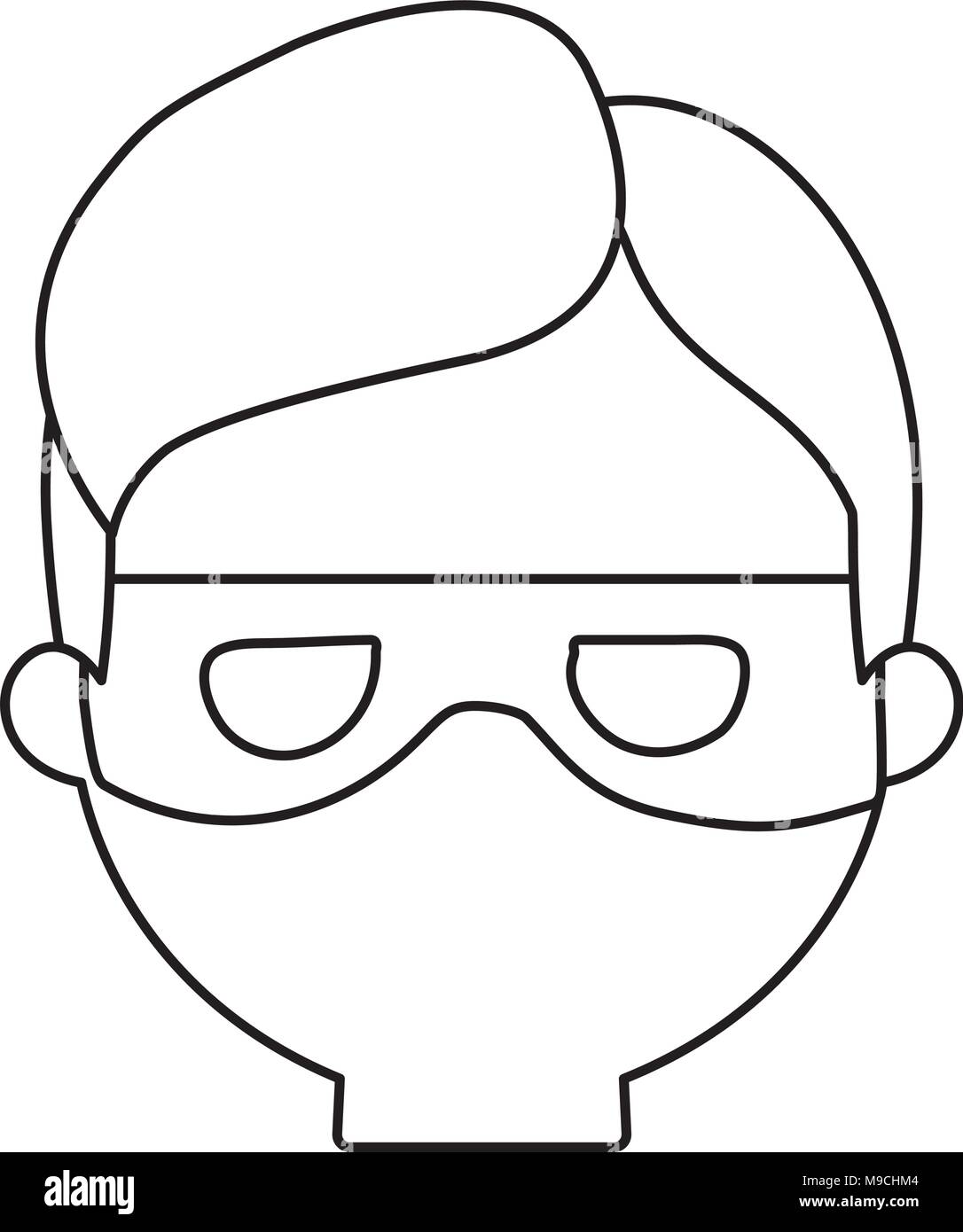 cartoon thief face icon over white background, vector illustration - Stock Image