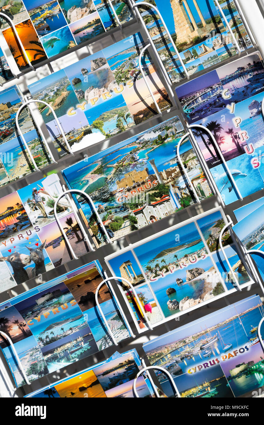 Cyprus, Troodos, tourist postcards for sale. - Stock Image