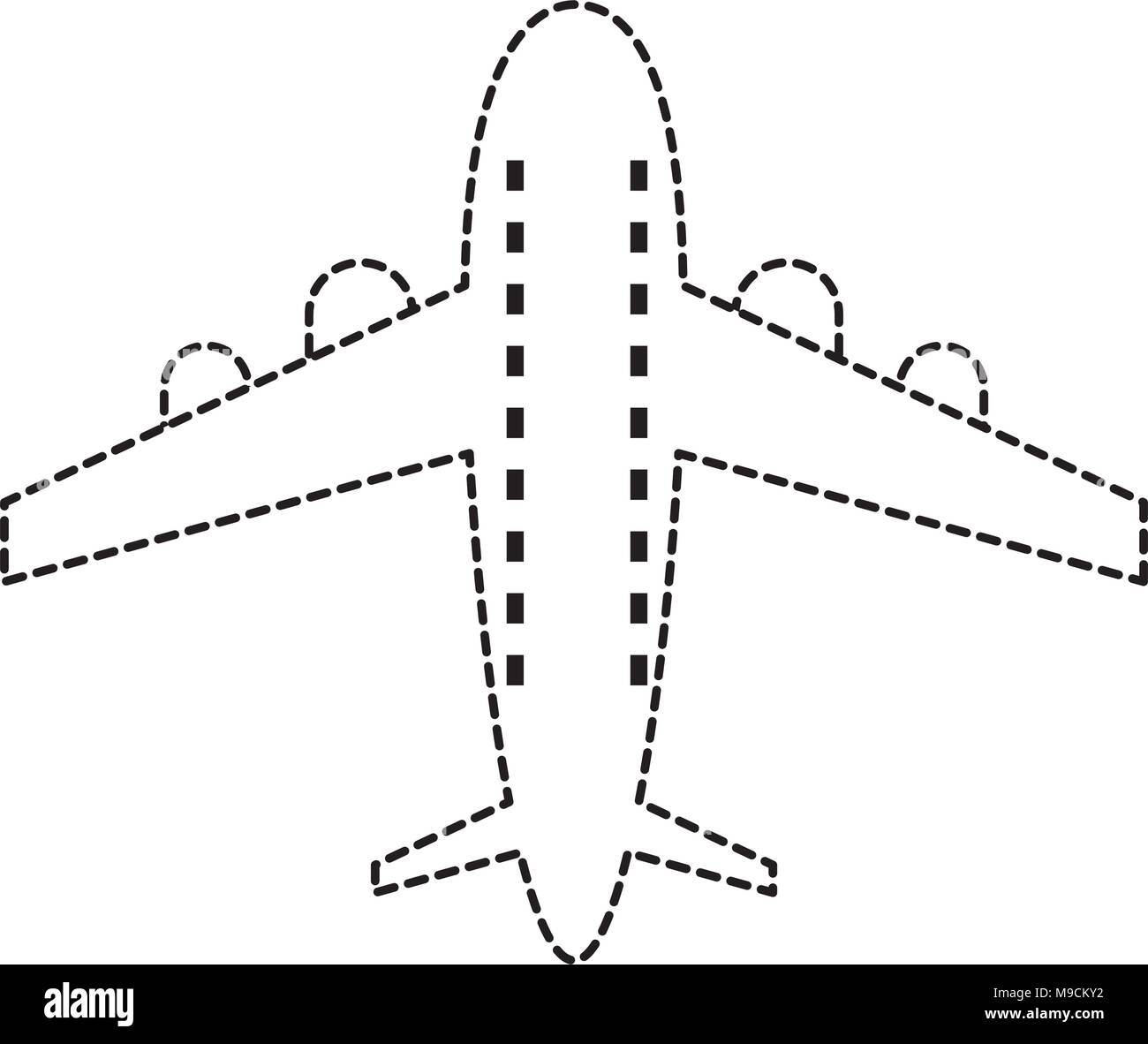 airplane icon over white background, vector illustration - Stock Image