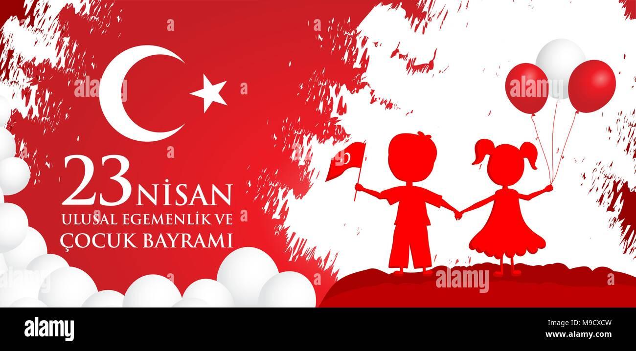 23 nisan cocuk baryrami. Translation: Turkish April 23 Children's Day. Vector illustration. - Stock Vector