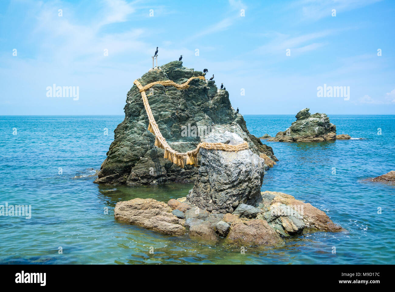 Meoto Iwa or the Loved one and loved one Rocks at Mie prefecture, Japan - Stock Image