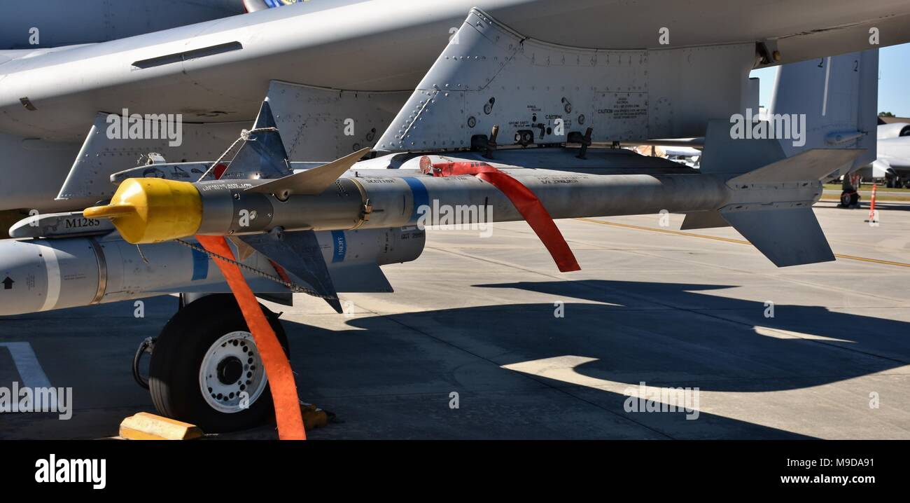 An Air Force AIM-9 Sidewinder missile on an A-10 Warthog attack jet. The Sidewinder is an air-to-air missile designed for dog-fighting. - Stock Image