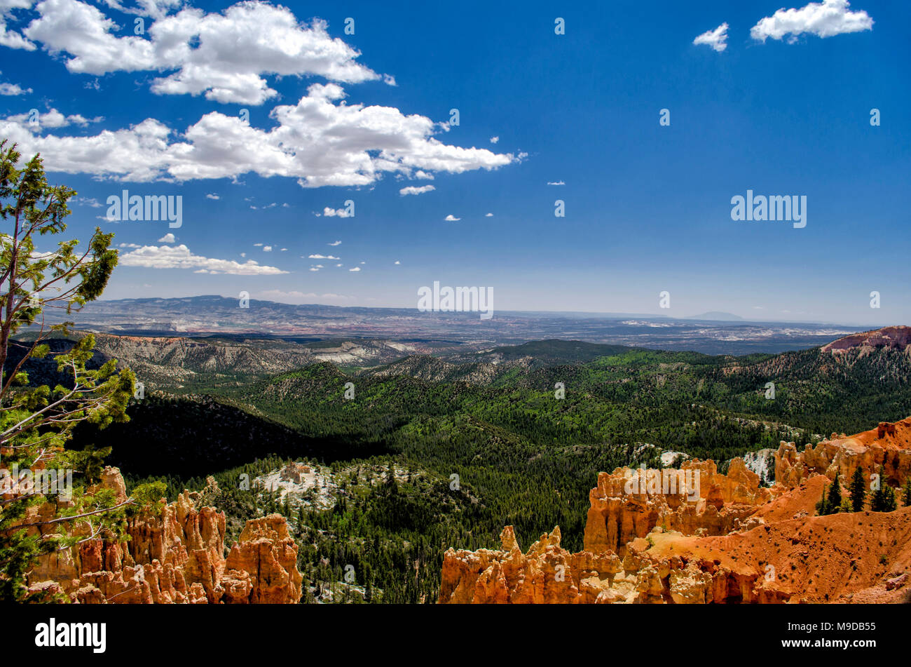 Scenic overlook of orange sandstone rock formations and cliffs with a green valley below under a blue sky with white fluffy clouds. - Stock Image