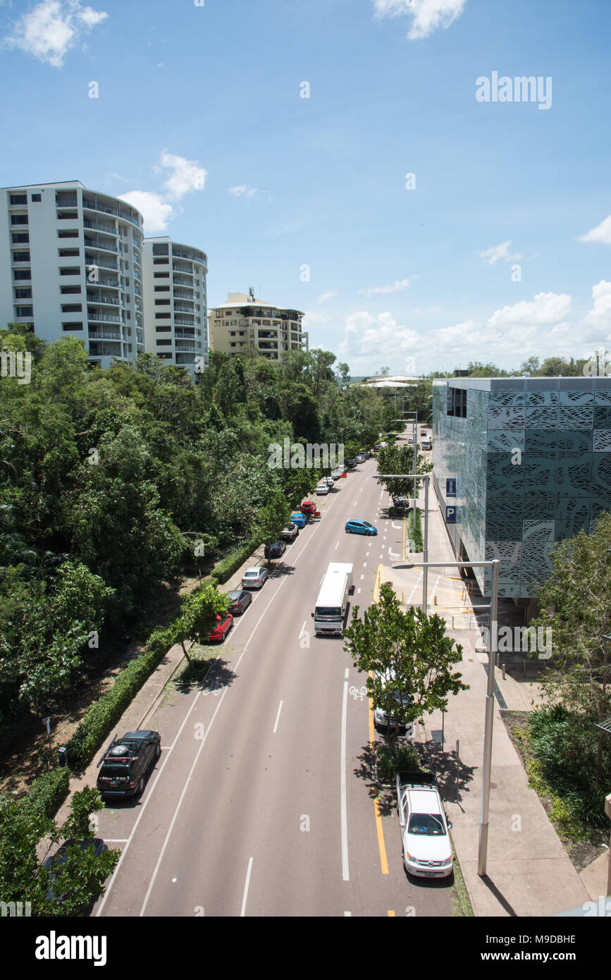Darwinnorthern territoryaustralia march 182018 elevated view over kitchener drive with residential architecture and traffic in darwin australia