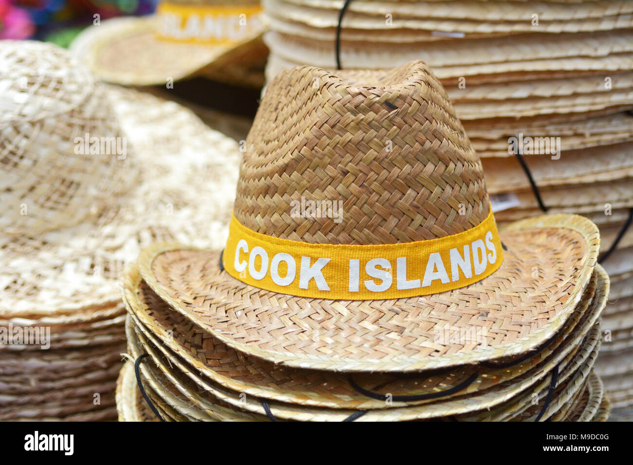 14fe73f27f1 Straw hats from Cook Islands. Pacific island travel vacation holiday concept .