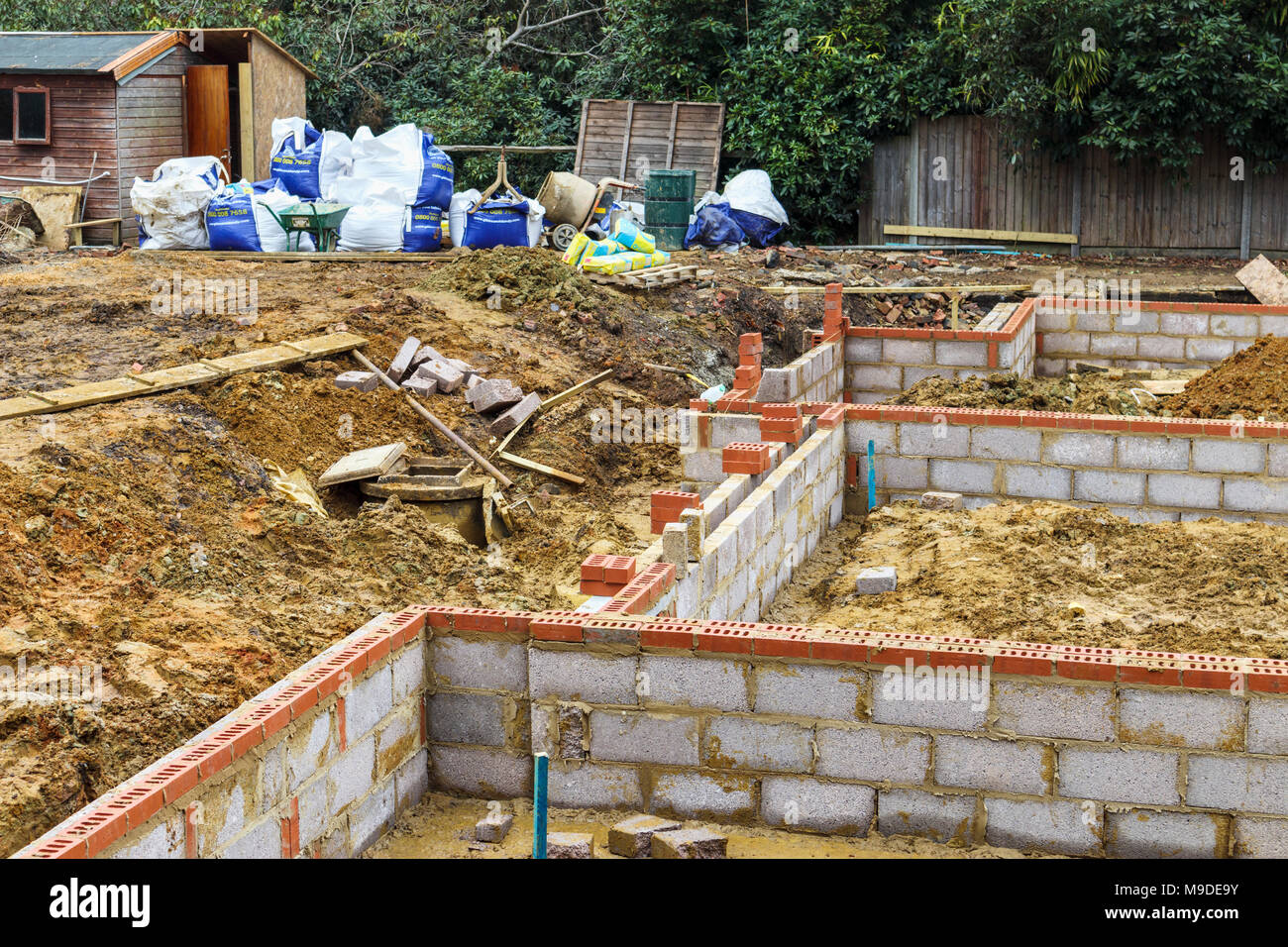 Brick And Breeze Block Foundations For A New House On A Construction Site  For A New