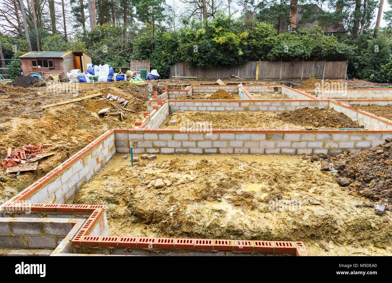 Great Brick And Breeze Block Foundations For A New House On A Construction Site  For A New