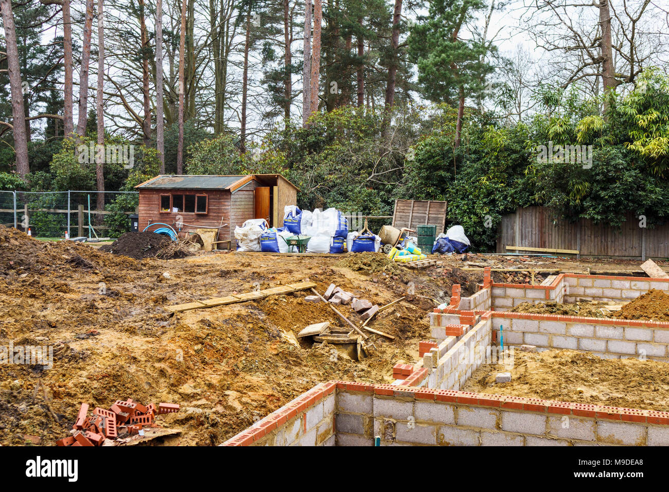 Awesome Brick And Breeze Block Foundations For A New House On A Construction Site  For A New