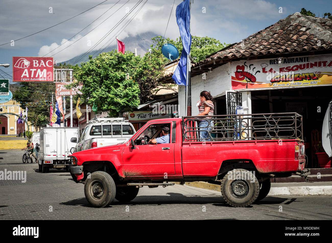 Colourful Moyogalpa town at the foot of Concepcion volcano on Ometepe Island in Nicaragua, Central America Stock Photo