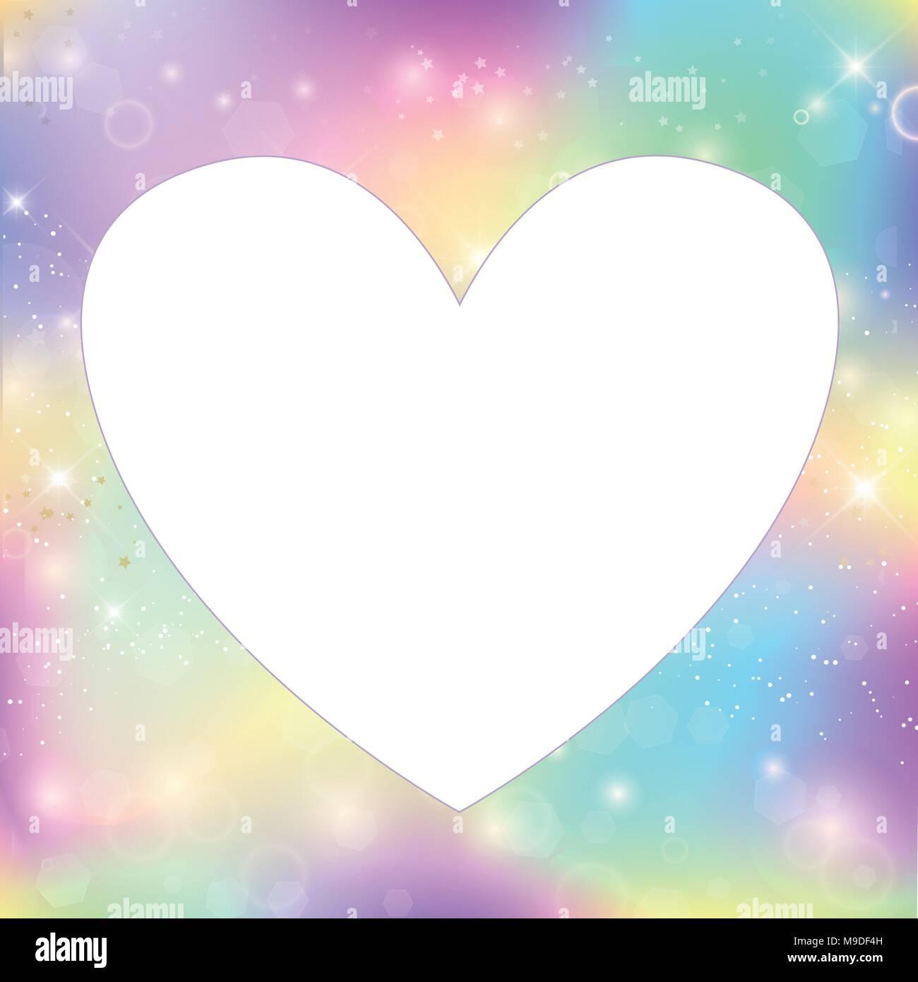 Heart frame magic border with rainbow mesh. Girlish universe banner ...