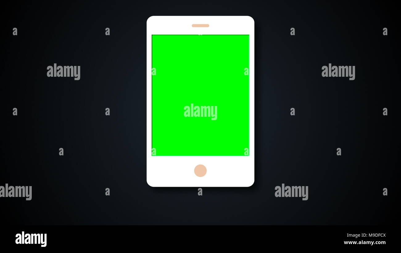 White flat phone white screen with chroma key, modern smartphone