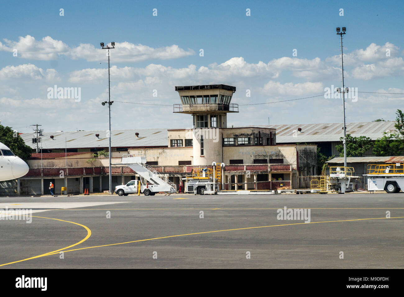 The old tower at Managua Augusto C. Sandino International airport in Nicaragua Stock Photo