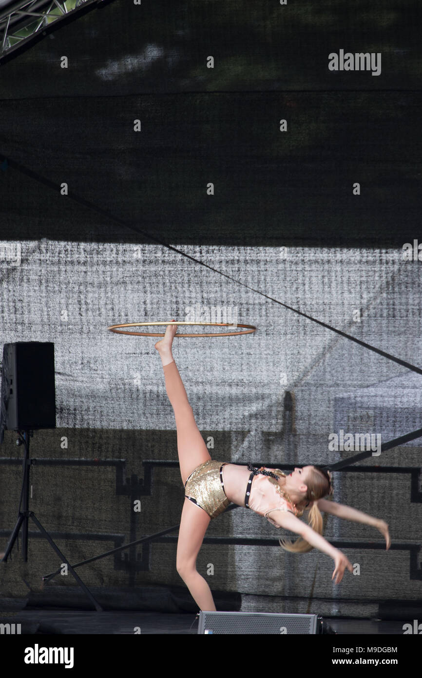 Hoola hoop gymnast at the Walthamstow family day 2017, Walthamstow, Greater London, England, United Kingdom - Stock Image