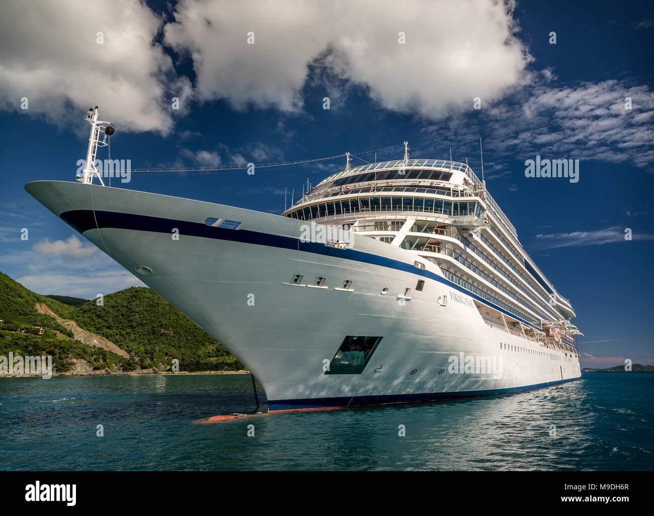 Cruise ship 'Viking Star' anchored off Road Town on the island of Tortola - Stock Image