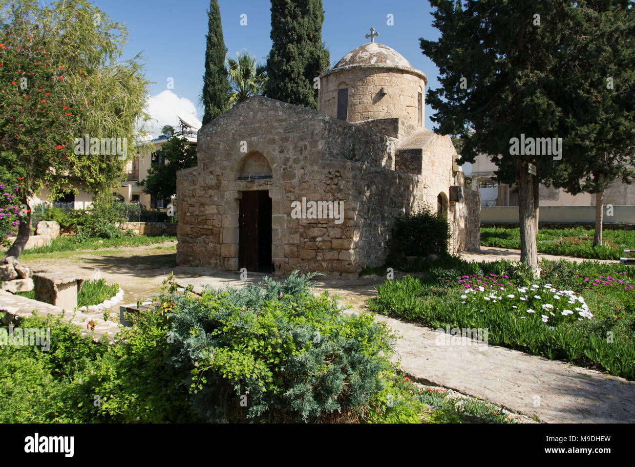Small stone church in Kato Paphos in small garden, Paphos, Cyprus, Mediterranean - Stock Image