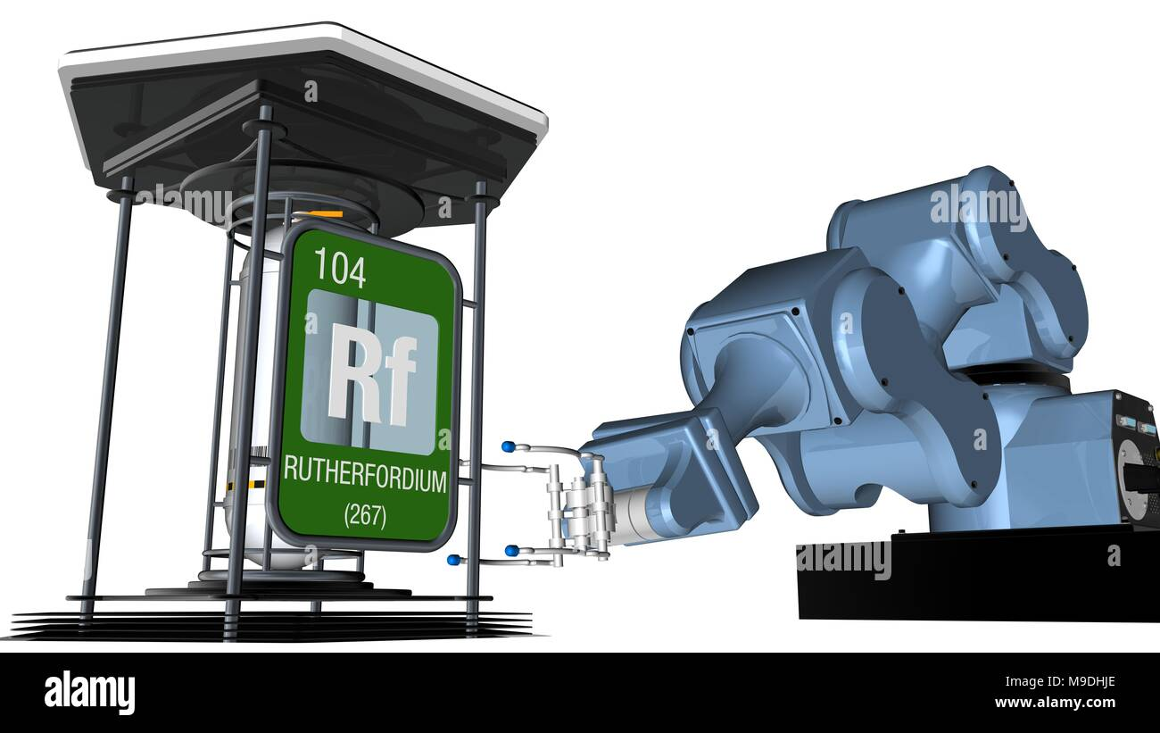 Rutherfordium symbol in square shape with metallic edge in front of a mechanical arm that will hold a chemical container. 3D render. Element 104 Stock Photo