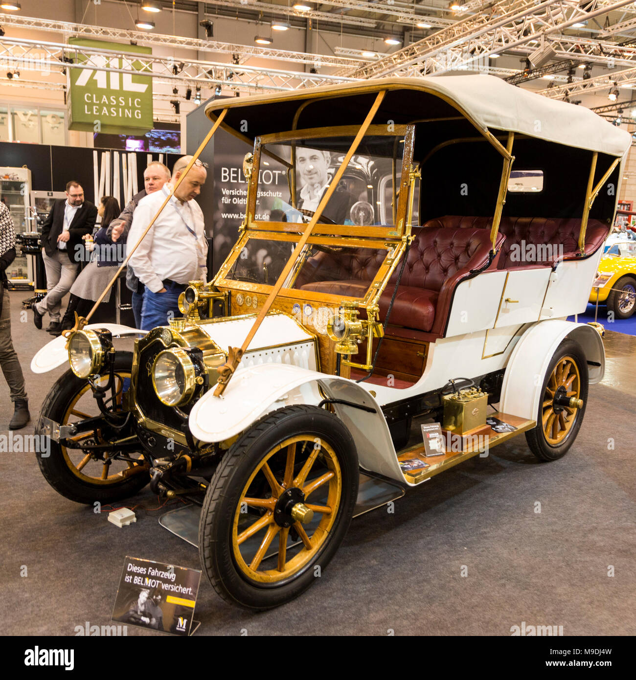 De Dion Bouton vintage car. Techno-Classica Essen is the world leading automobile show for classic and vintage cars and collectible automobiles. In 2018, the motor show attracted over 185,000 visitors. More than 1,250 exhibitors from over 30 countries take part. - Stock Image