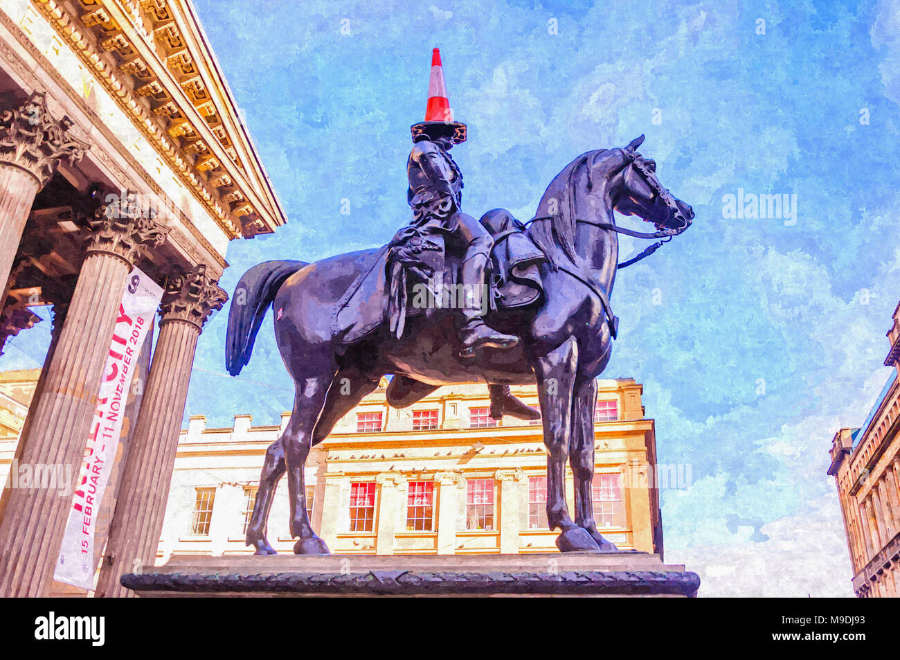 Digital oil painting of the Duke of Wellington statue with a traffic cone on his head in front of GOMA, Royal Exchange Square, Glasgow. - Stock Image