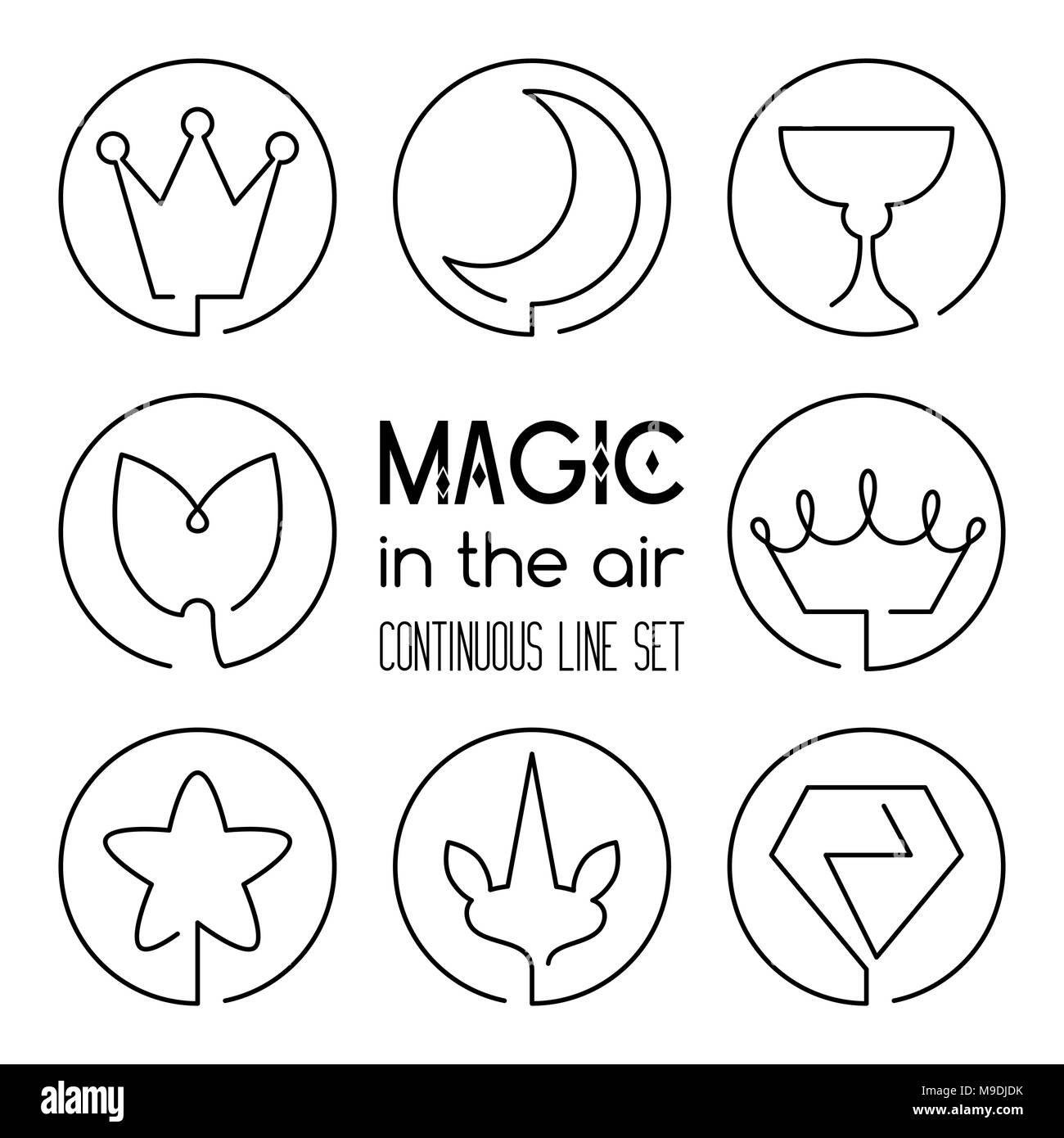 Set of magic fantasy continuous line art icons crown moon holy grail