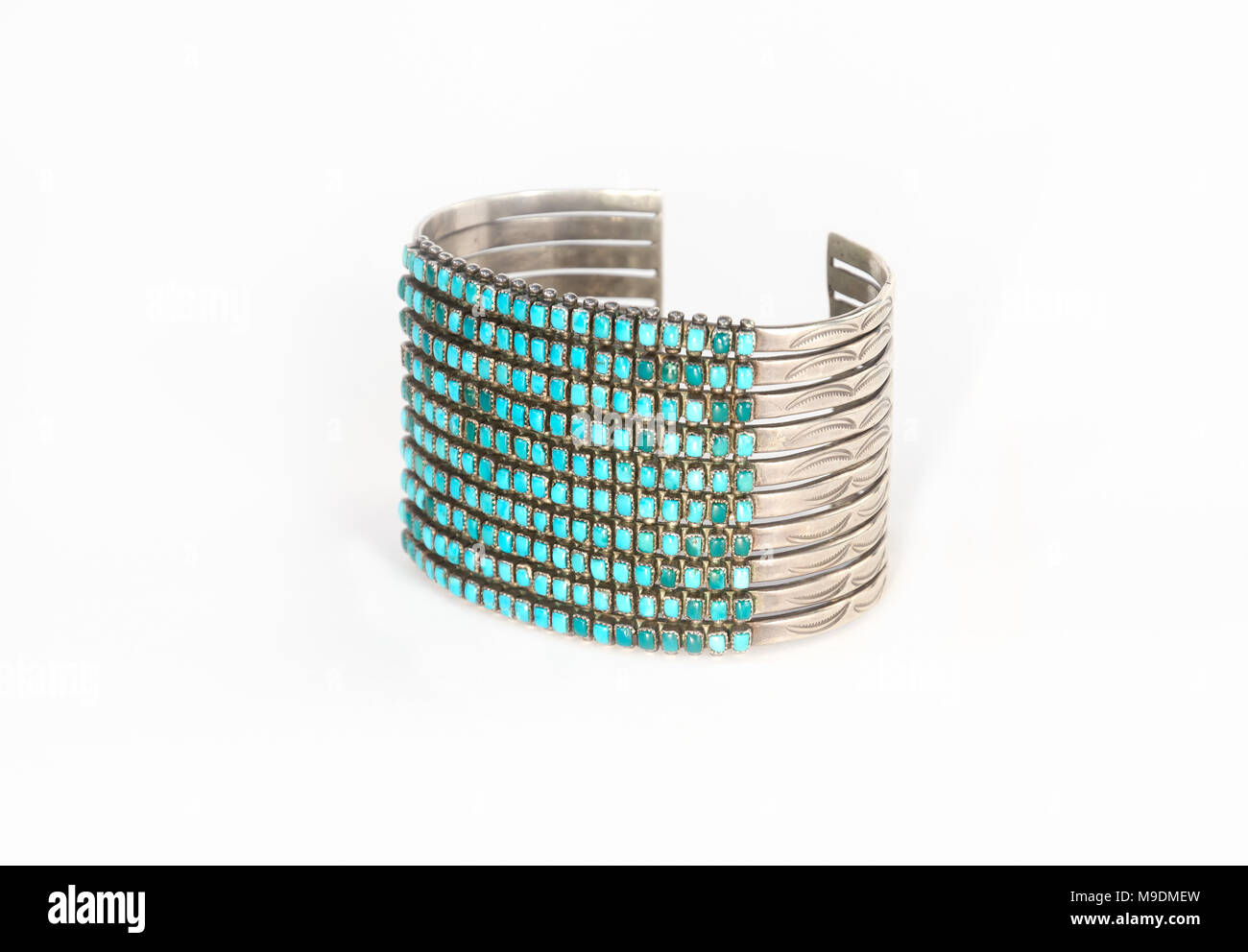 Native American Sterling Silver and Turquoise Cuff Bracelet Isolated on White. - Stock Image