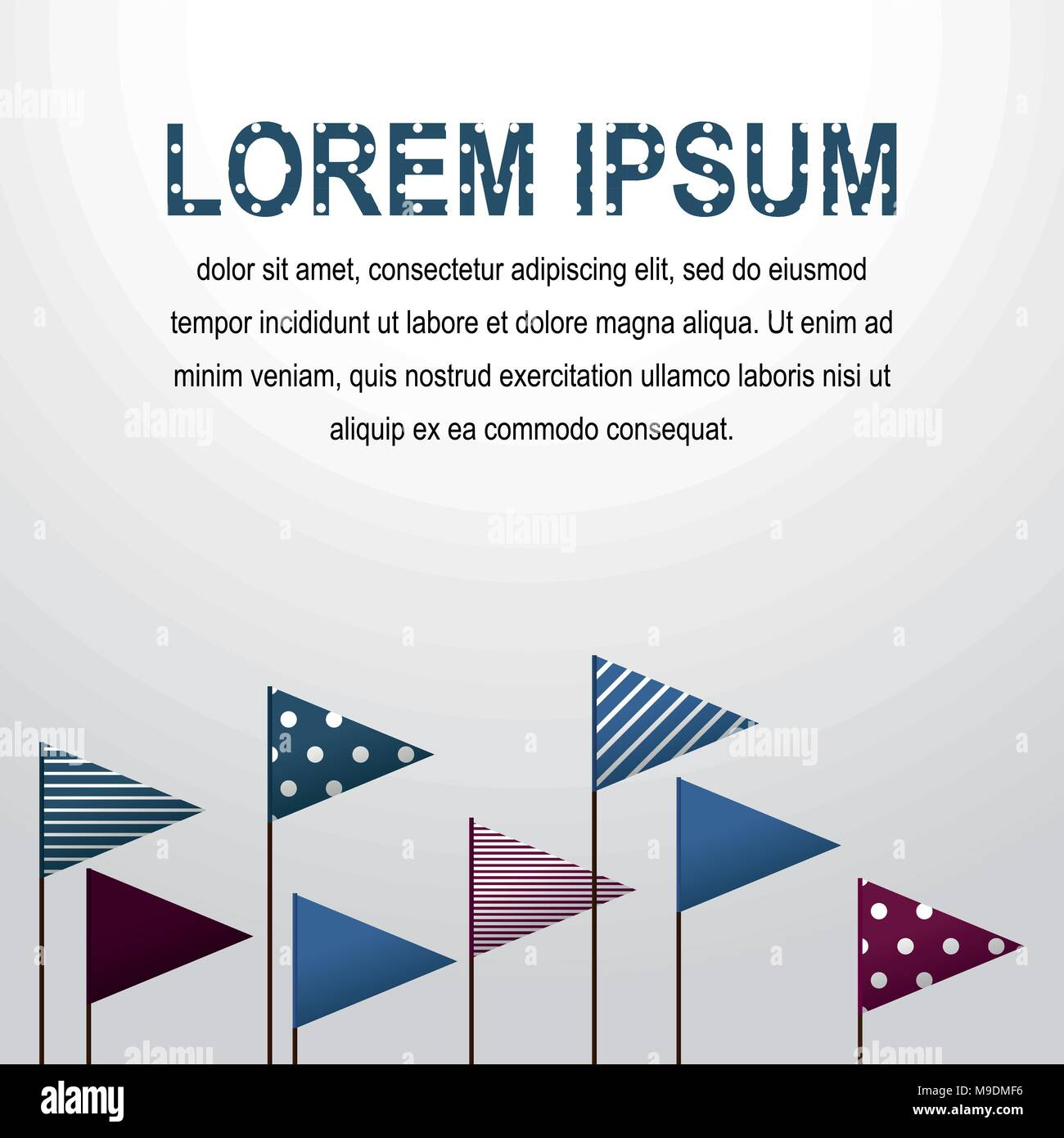 Decorative flags Vector Triangular multicolored flags with different patterns raised on flagpoles against white backdrop Illustration Realistic style - Stock Vector