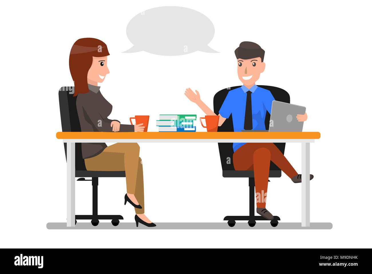 Cartoon Businessman Sitting Work Desk Stock Photos Cartoon