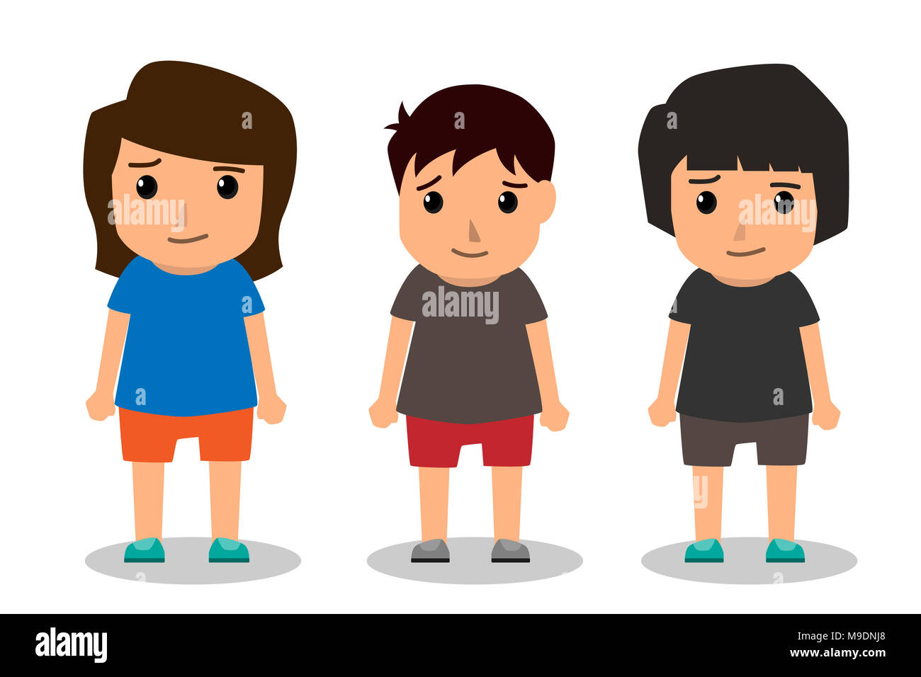 Kids Vector Characters Boys And Girls Set With Happy Smile