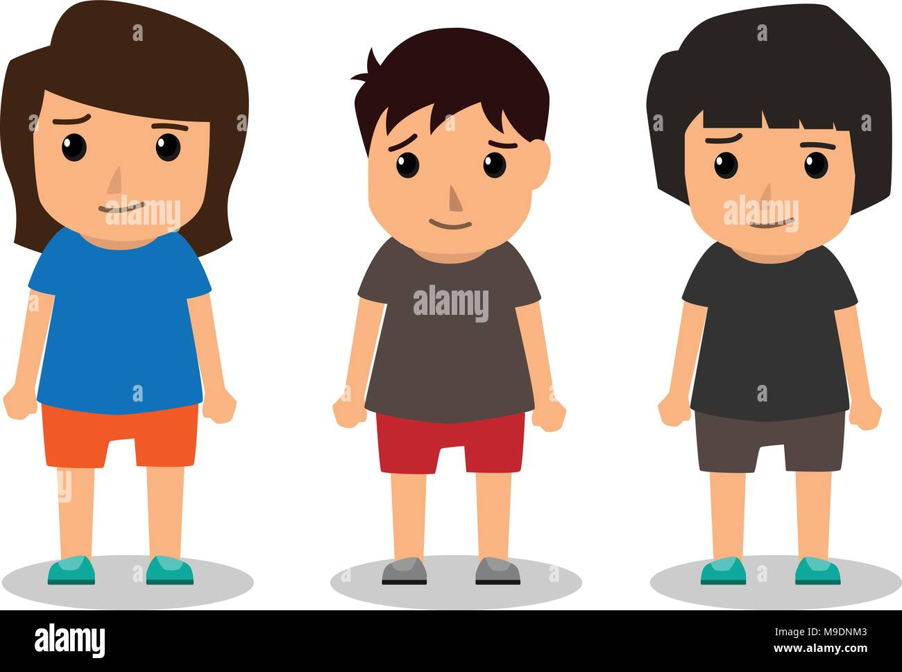 Kids Vector Characters Boys And Girls Set With Happy Smile And
