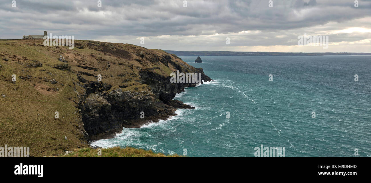 Tintagel Church and Coast - Stock Image