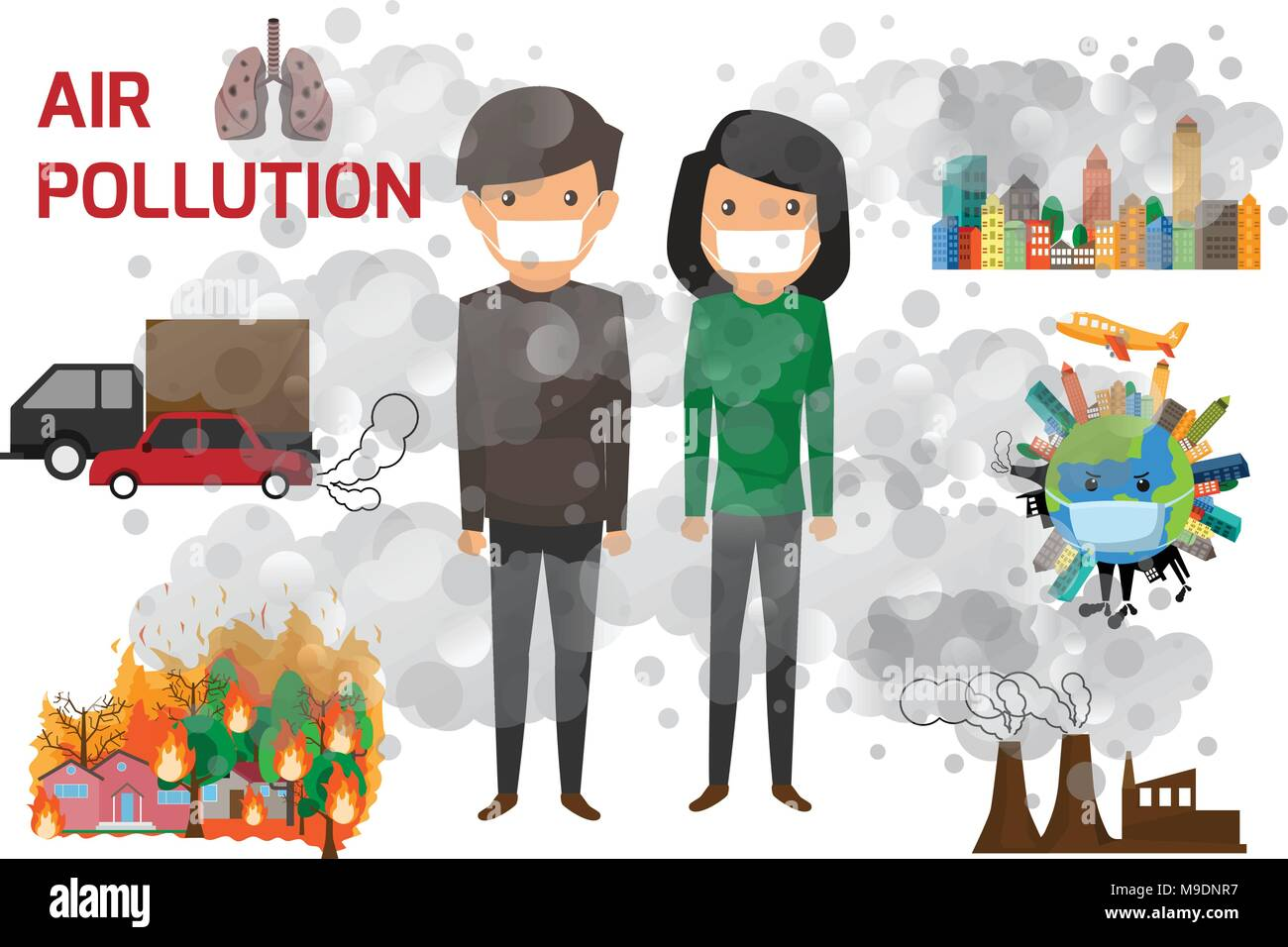 Environmental Pollution Infographics Set With Information About Environmental Impact Air Pollution And Cartoon Character Vector Illustration Stock Vector Image Art Alamy