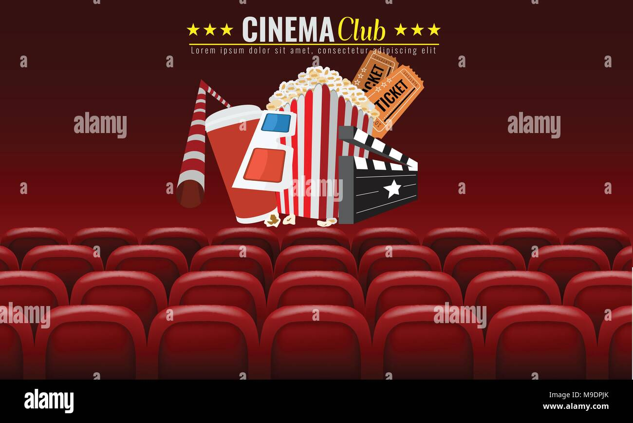 Movie Cinema Premiere Poster Design Vector Template Banner For Show With Seats Popcorn Tickets Red Background