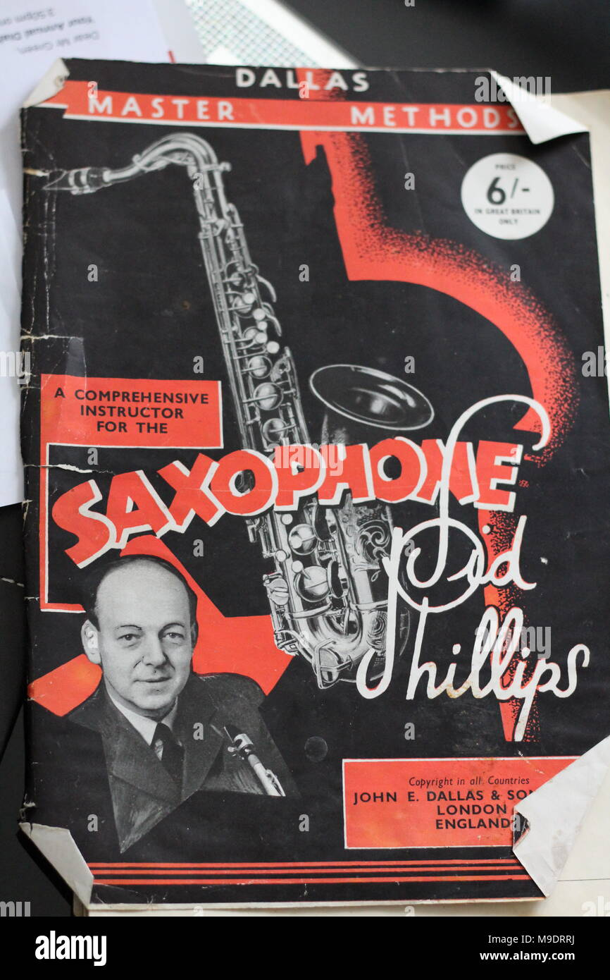Front cover of Saxophone 1946  publication by jazz clarinettist, Sid Phillips. - Stock Image