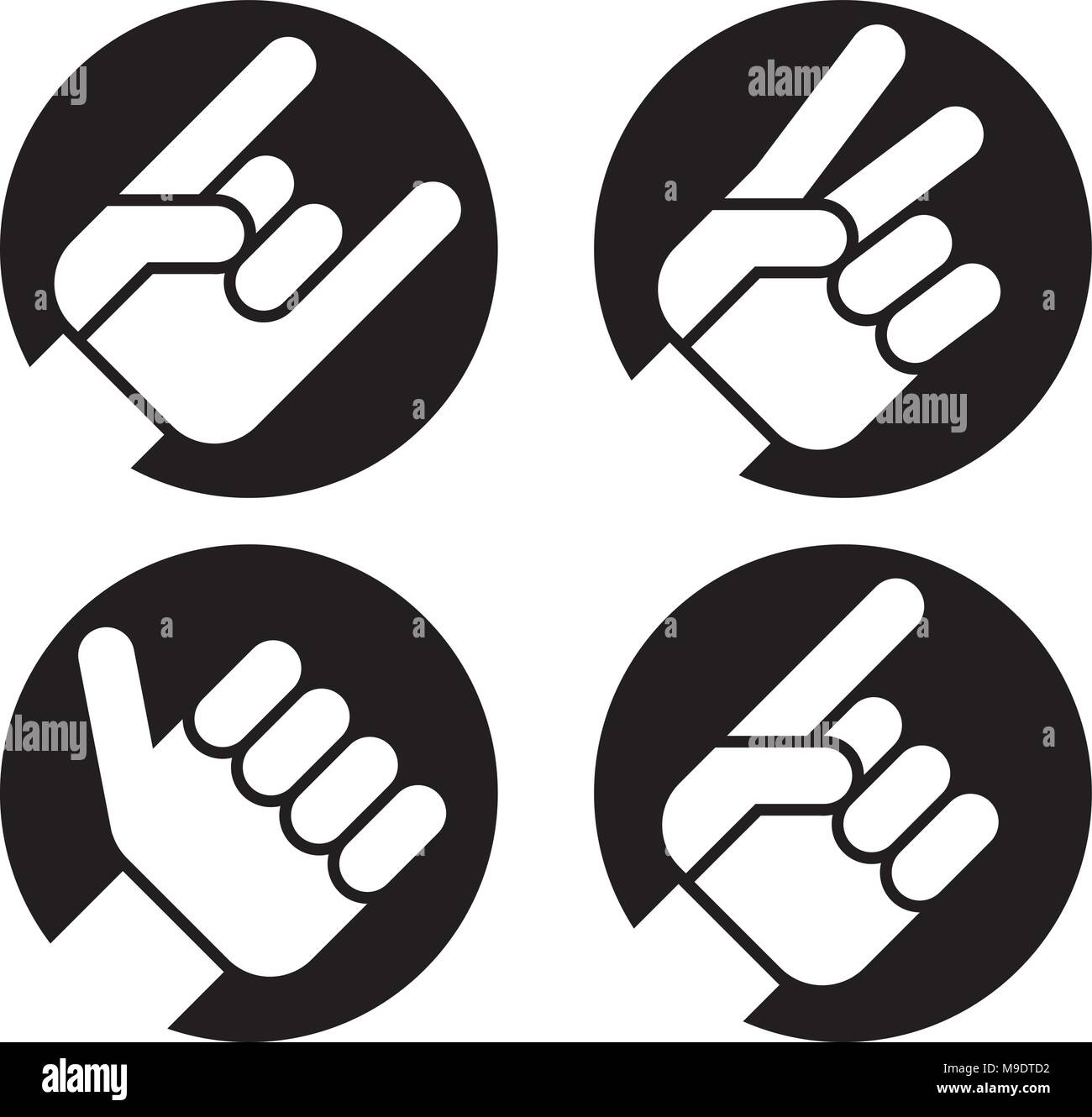 Peace sign stock vector images alamy set of four flat hand gesture vector icons of hands making classic recognizable signs includes biocorpaavc Choice Image