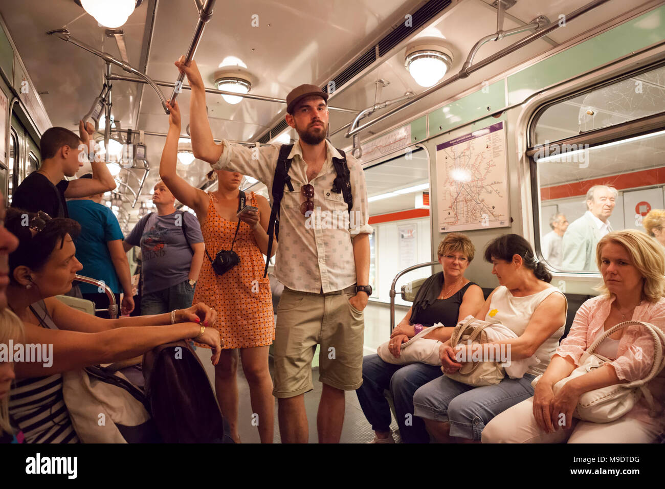 Passengers at the Budapest metro in Hungary Stock Photo