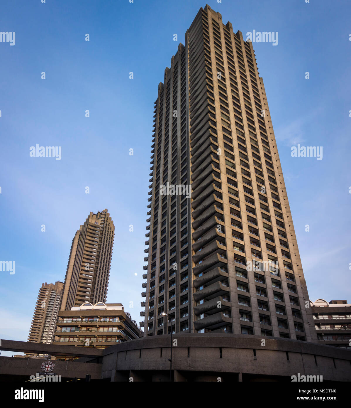 Brutalist Lauderdale Tower Barbican Estate residential tower block concrete skyscraper, City of London, UK - Stock Image