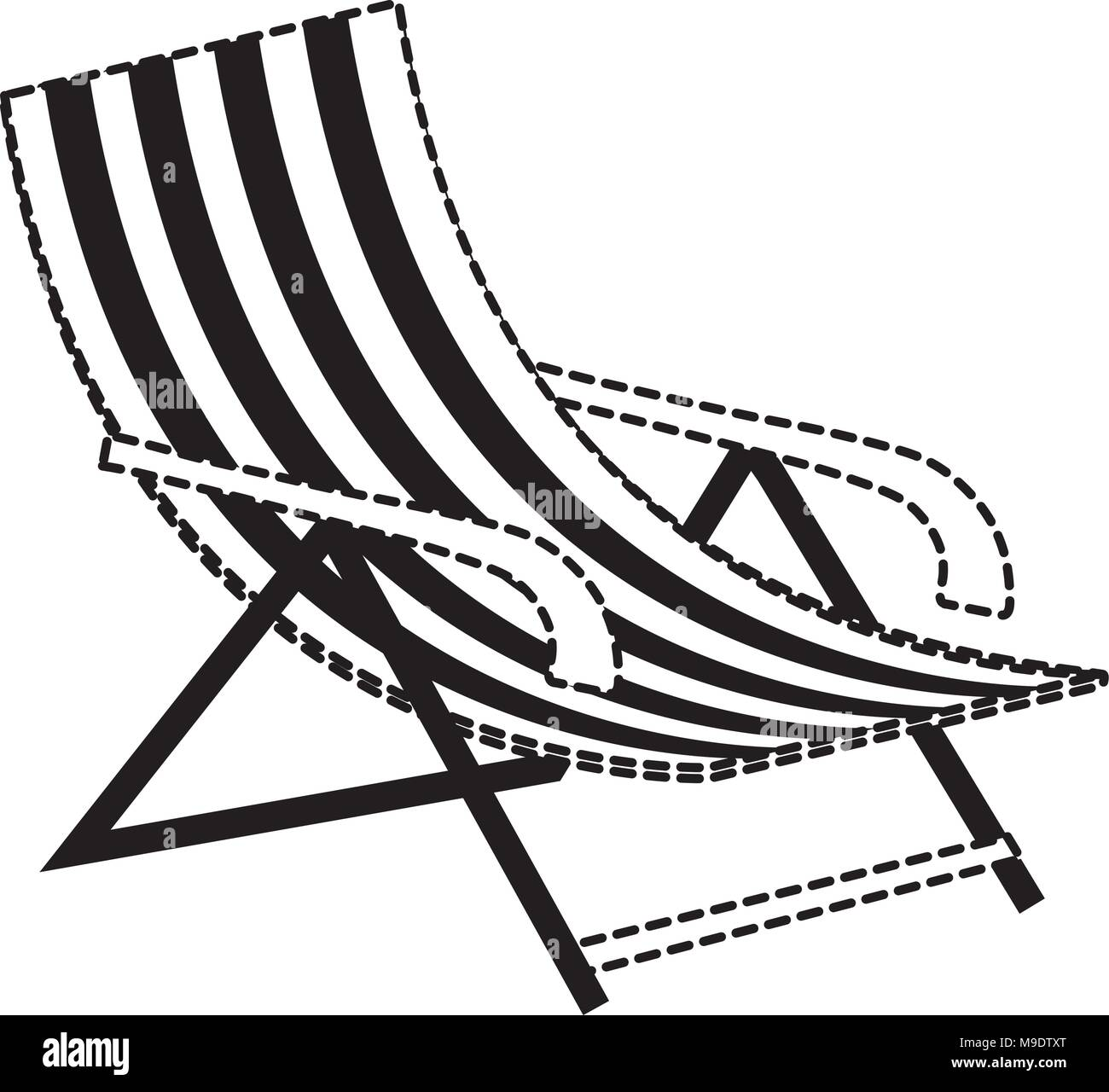 beach chair icon over white background, vector illustration Stock Vector