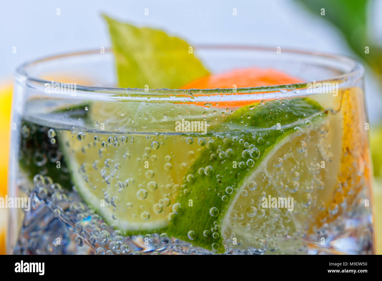 Homemade cocktail with citrus fruits in glass cup with transparent drink ices and bubbles. - Stock Image