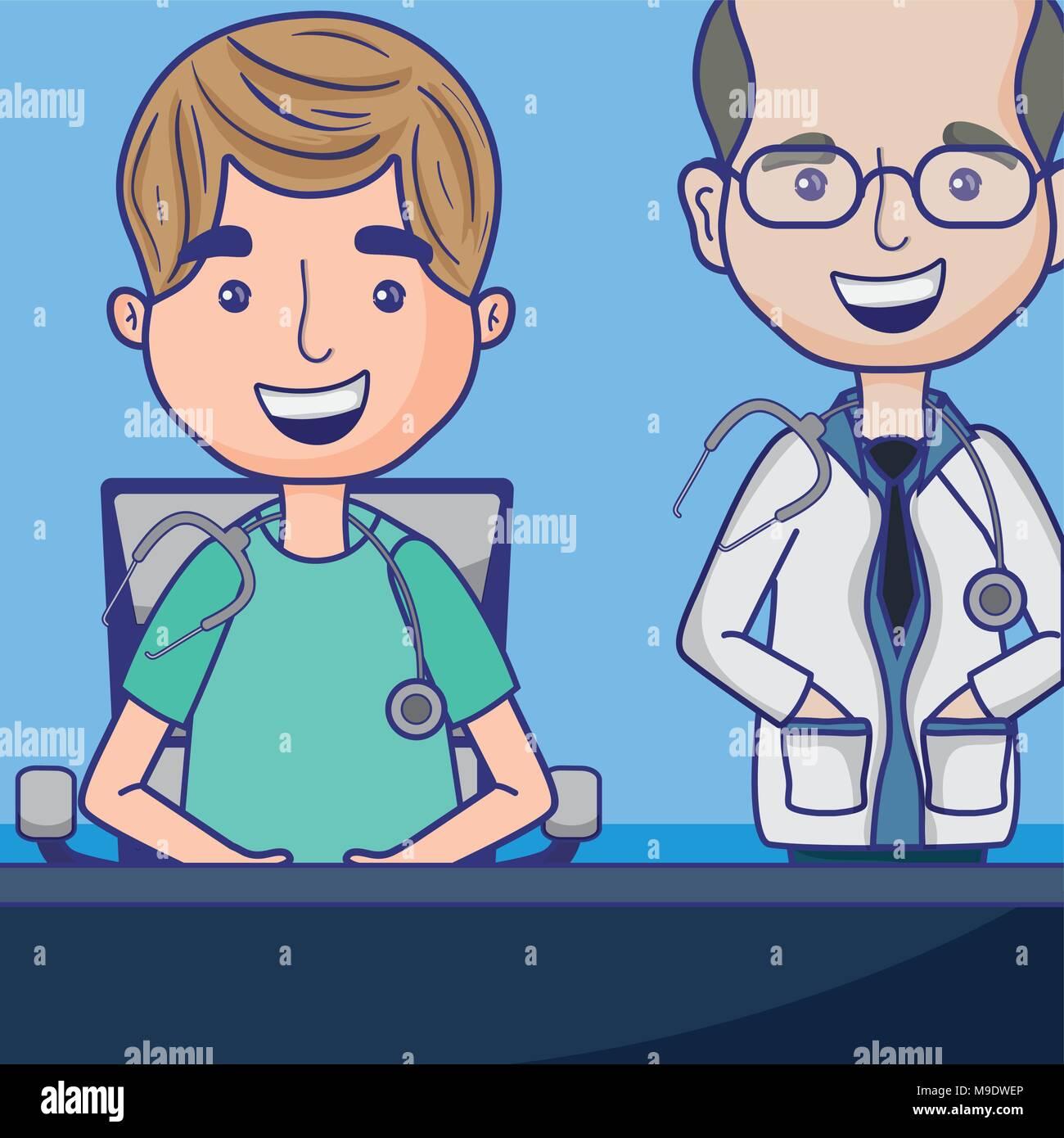 Funny Cartoon Hospital Pics two doctors talking hospital stock vector images - alamy