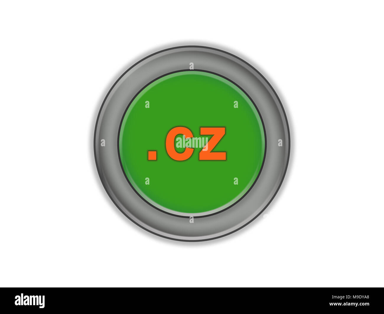 Bulk green button with the designation of a country domain, the Czech Republic, white background - Stock Image