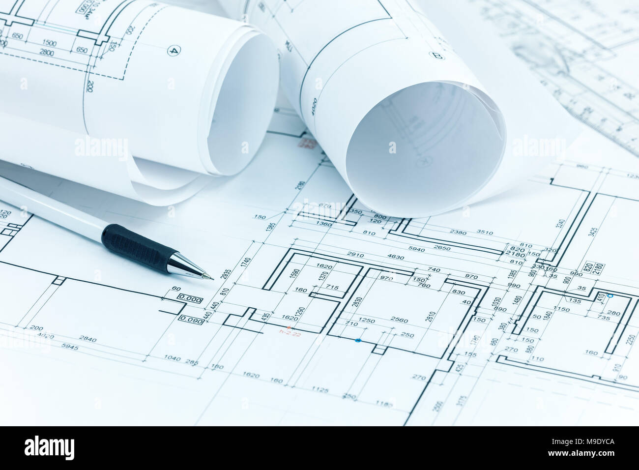 Architectural Project Plans Blueprint Rolls Pencil And Ruler